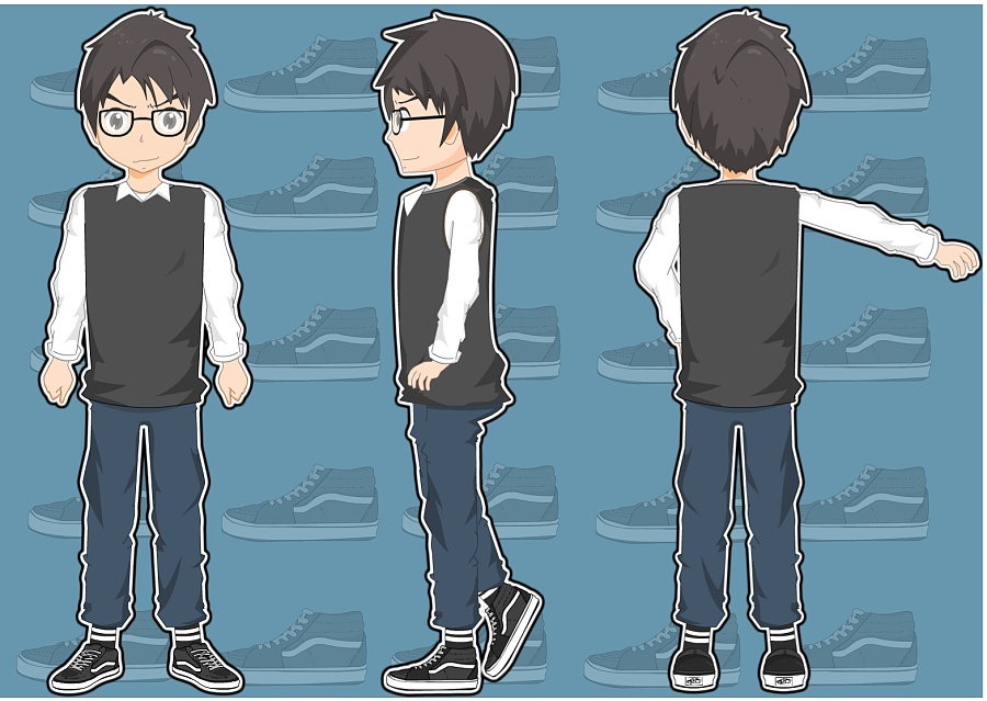 原创作品:flash二维三视图人物设计