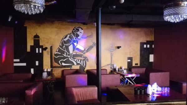 club酒吧手绘墙画