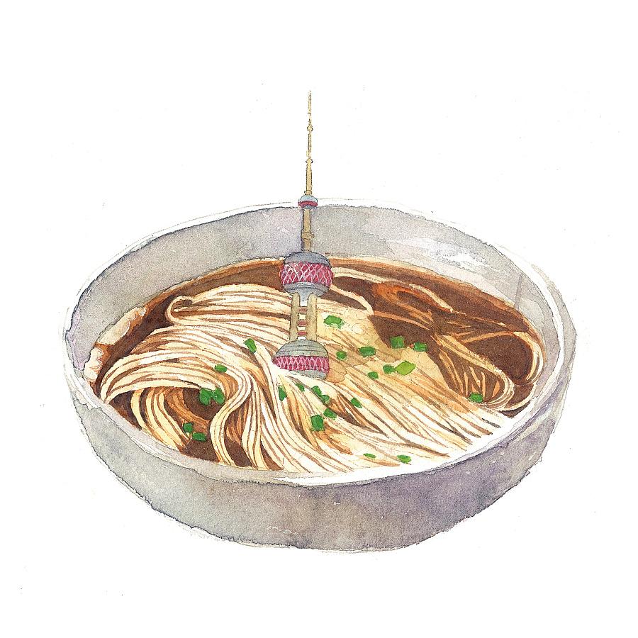 """上海""""18传统小吃""""插画设计"""