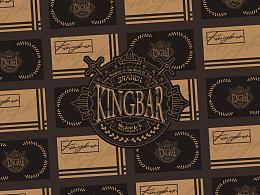 蓝 | KINGBAR 酒吧 徽章LOGO设计+品牌VI设计