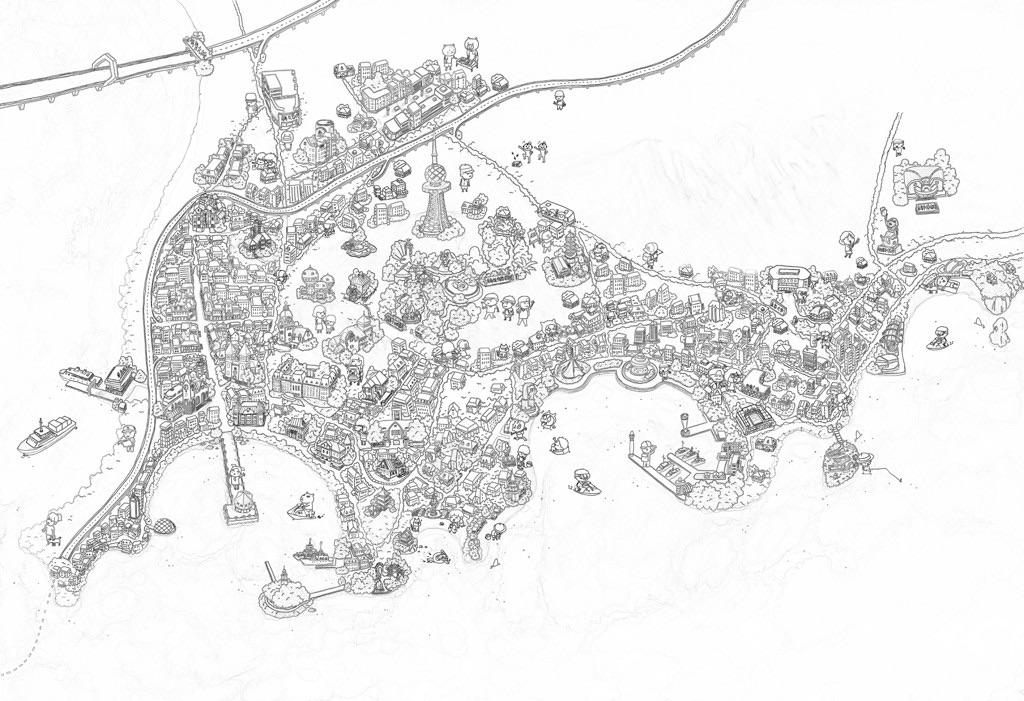 手绘地图|合集一|周庄长沙澳门桂林哈尔滨青岛