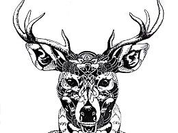 手绘线描小鹿