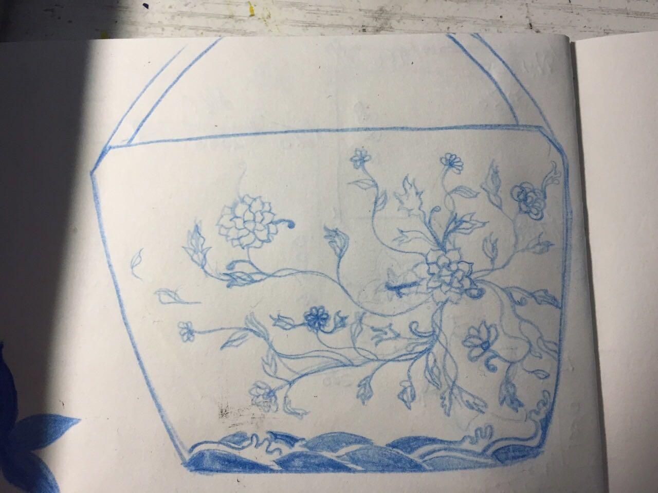 青花瓷帆布手绘包