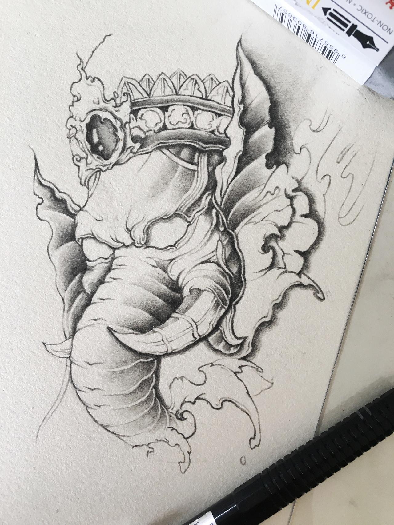 手稿一张孔雀开屏的纹身图案 - 66纹身图库