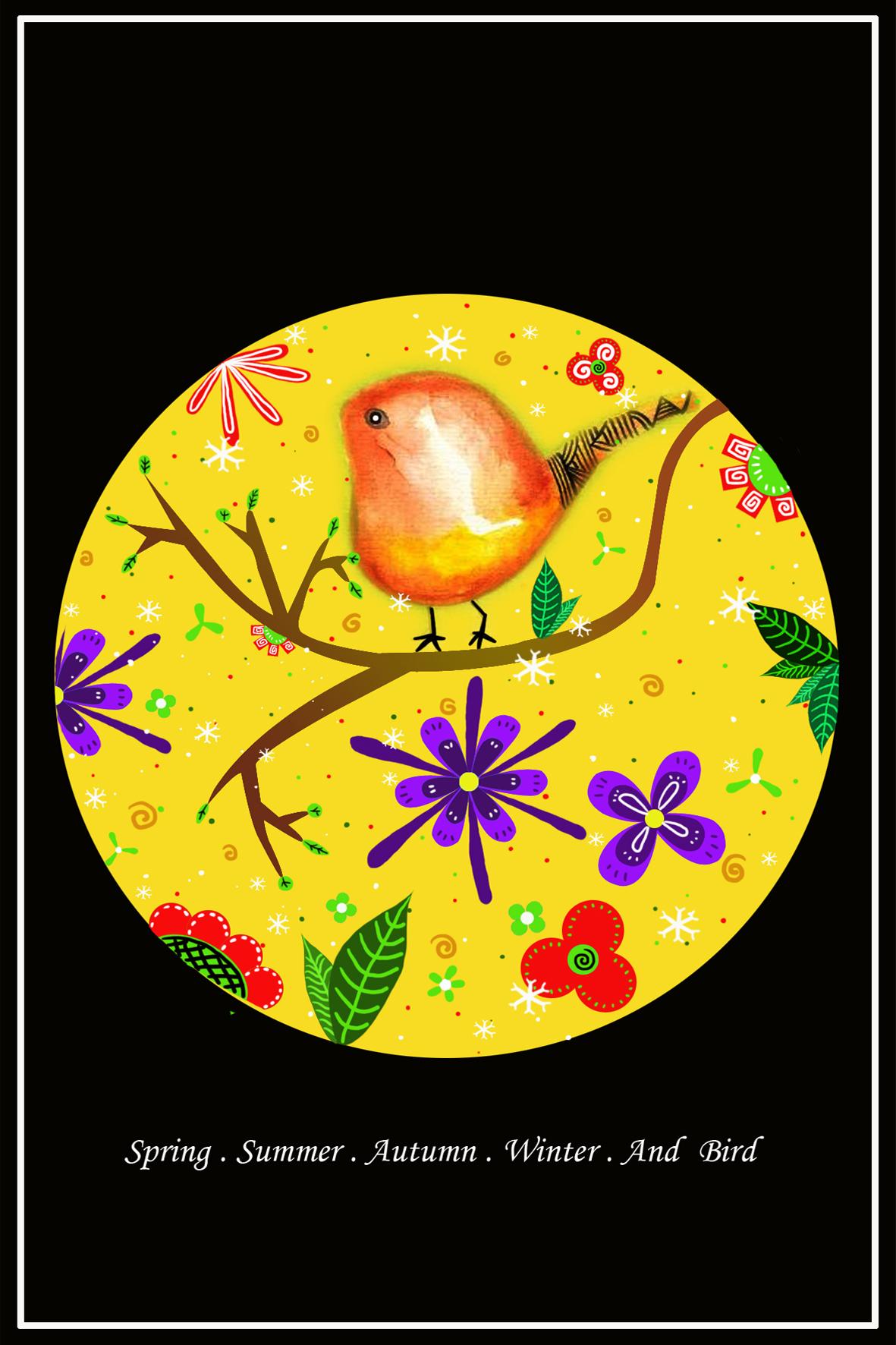 《春夏秋冬》黄款明信片