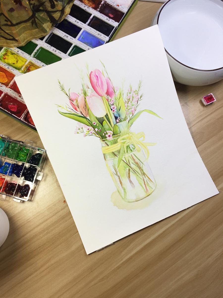 水彩手绘--郁金香
