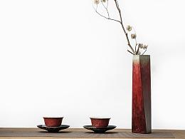 晨曦霞露-红花瓶