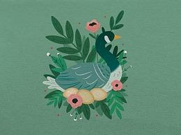Ai插画-天鹅、植物