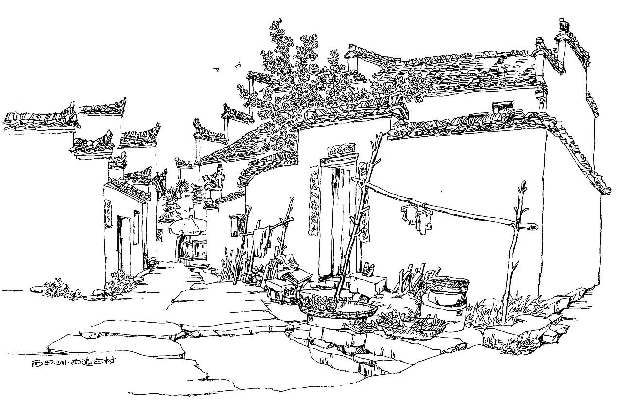 西递速写_皖南印象之二~西递写生作品集~这是我近几年在黟县西递的 ...