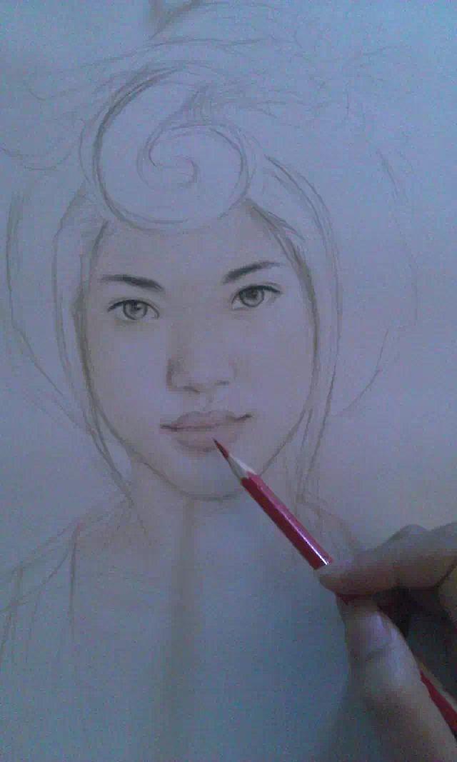 嘴唇的画法彩铅手绘