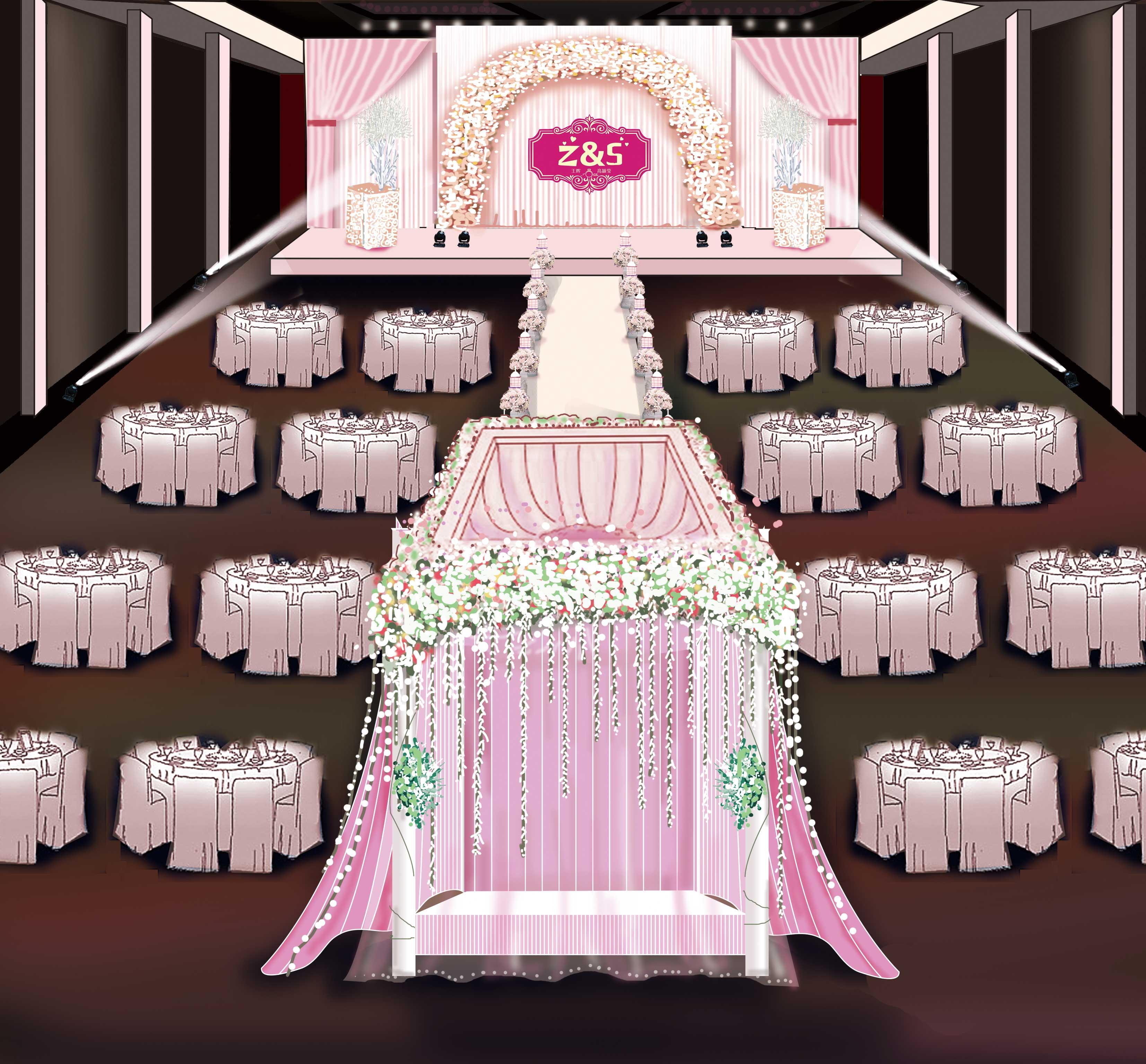 手绘婚礼场景图