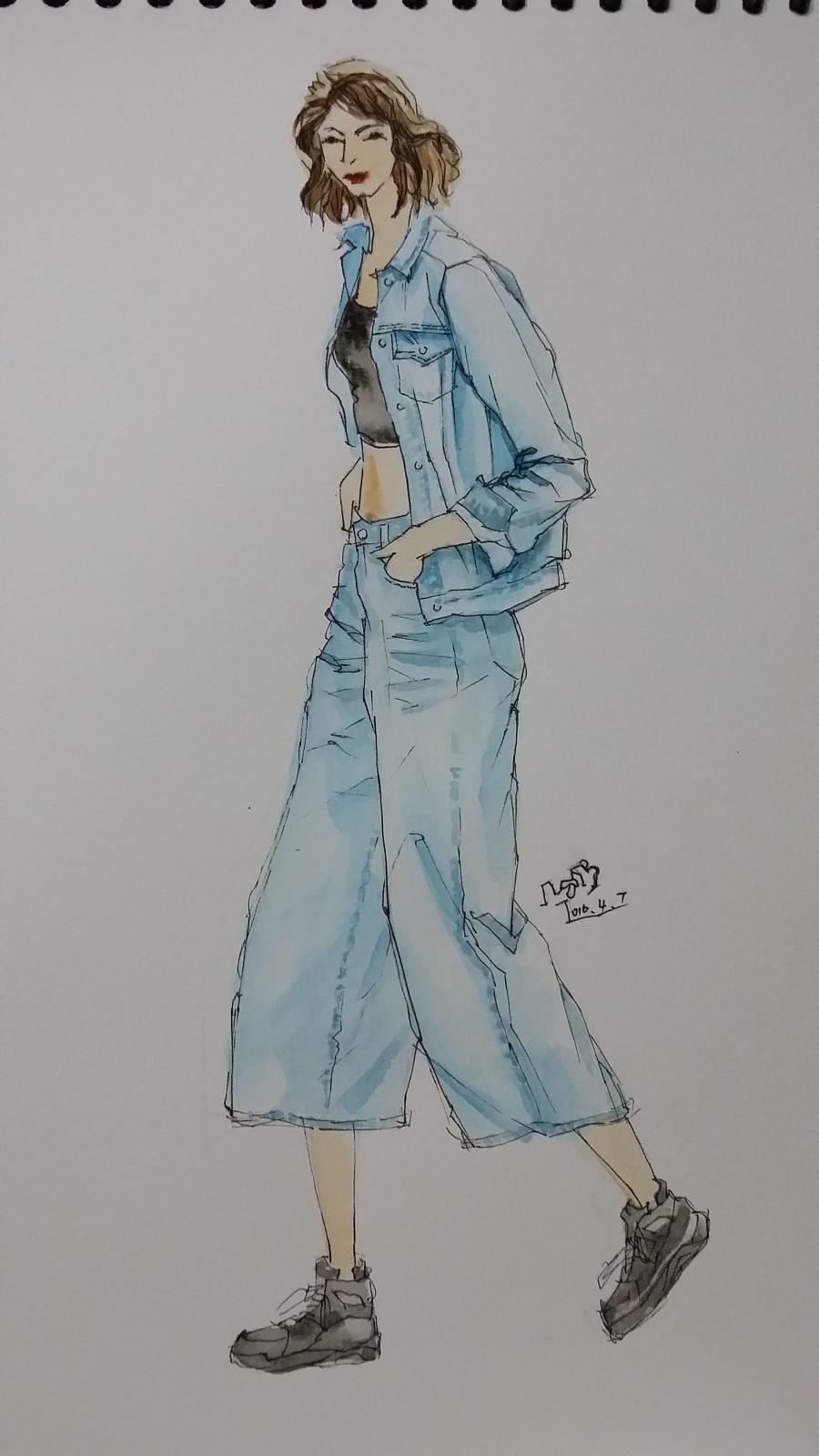 手绘时装插画(春季女装搭配)|休闲/流行服饰|服装