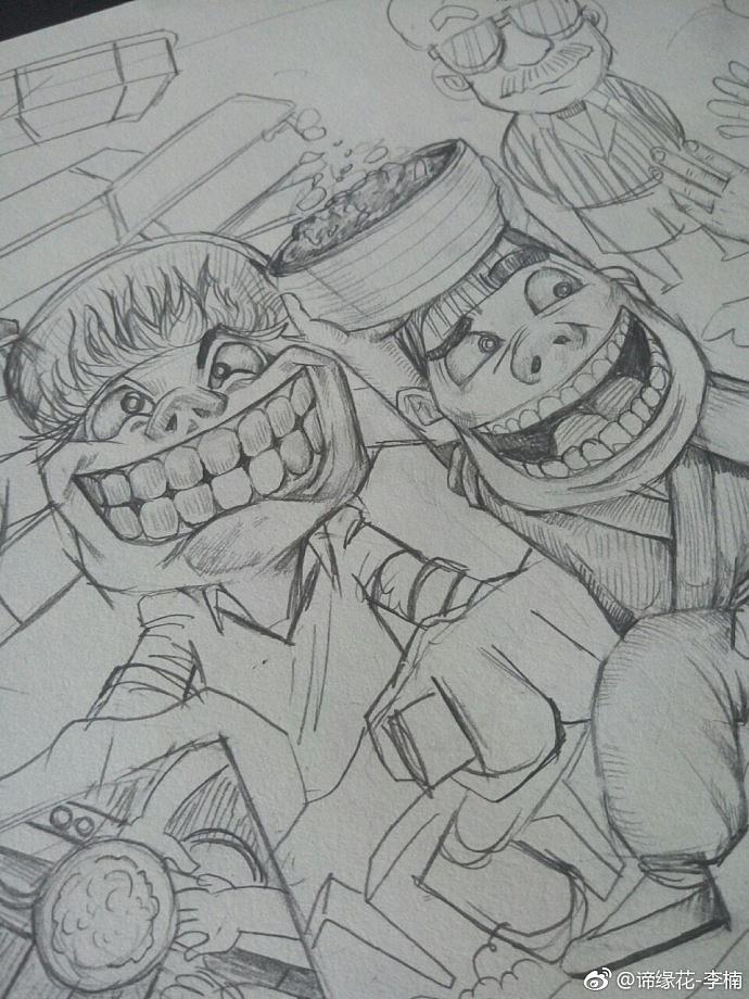 猪四爷次卧设计图-盛爷分别扮演快递小哥、厨师、店小二、农夫四个角色,进行夸张的创