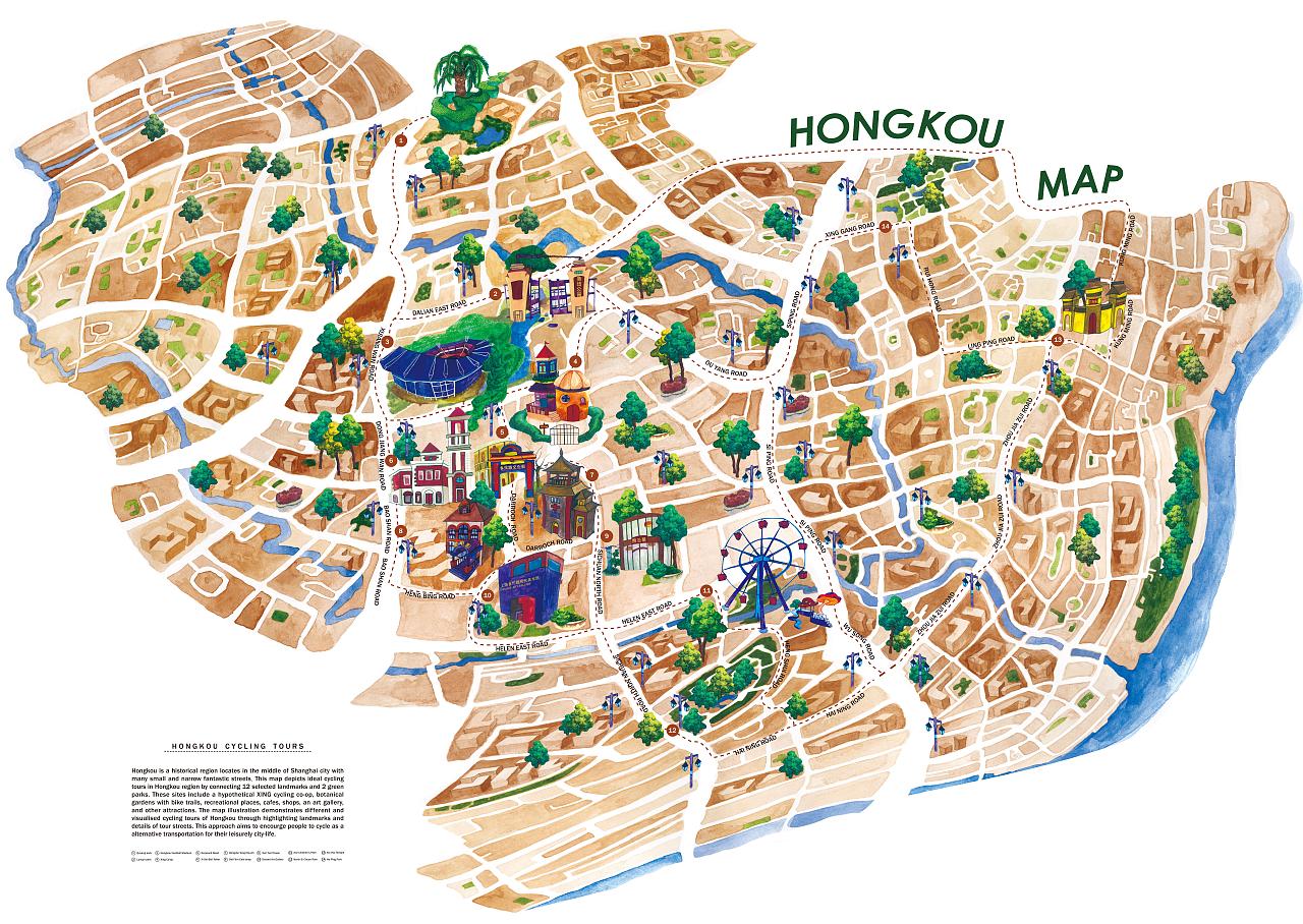 上海虹口区地图_上海虹口地区自行车路线地图-水粉插画|插画|概念设定|miss米粒emi
