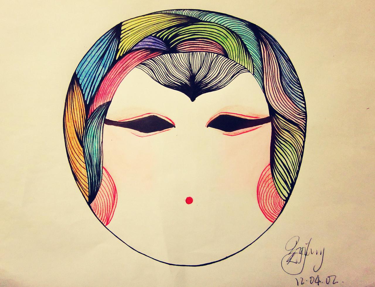 这是一张像日本娃娃又像戏剧脸谱妆容的脸部手绘