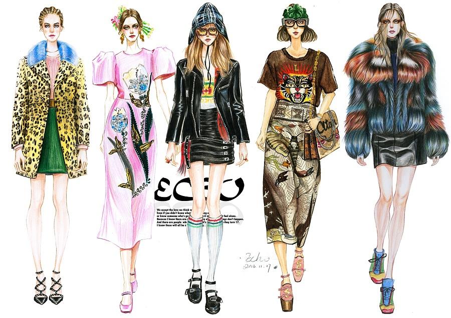 手绘服装时装画|绘画习作|插画|饰华沦烬灭