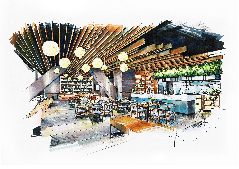 西餐厅室内空间手绘表现,钢笔 马克笔