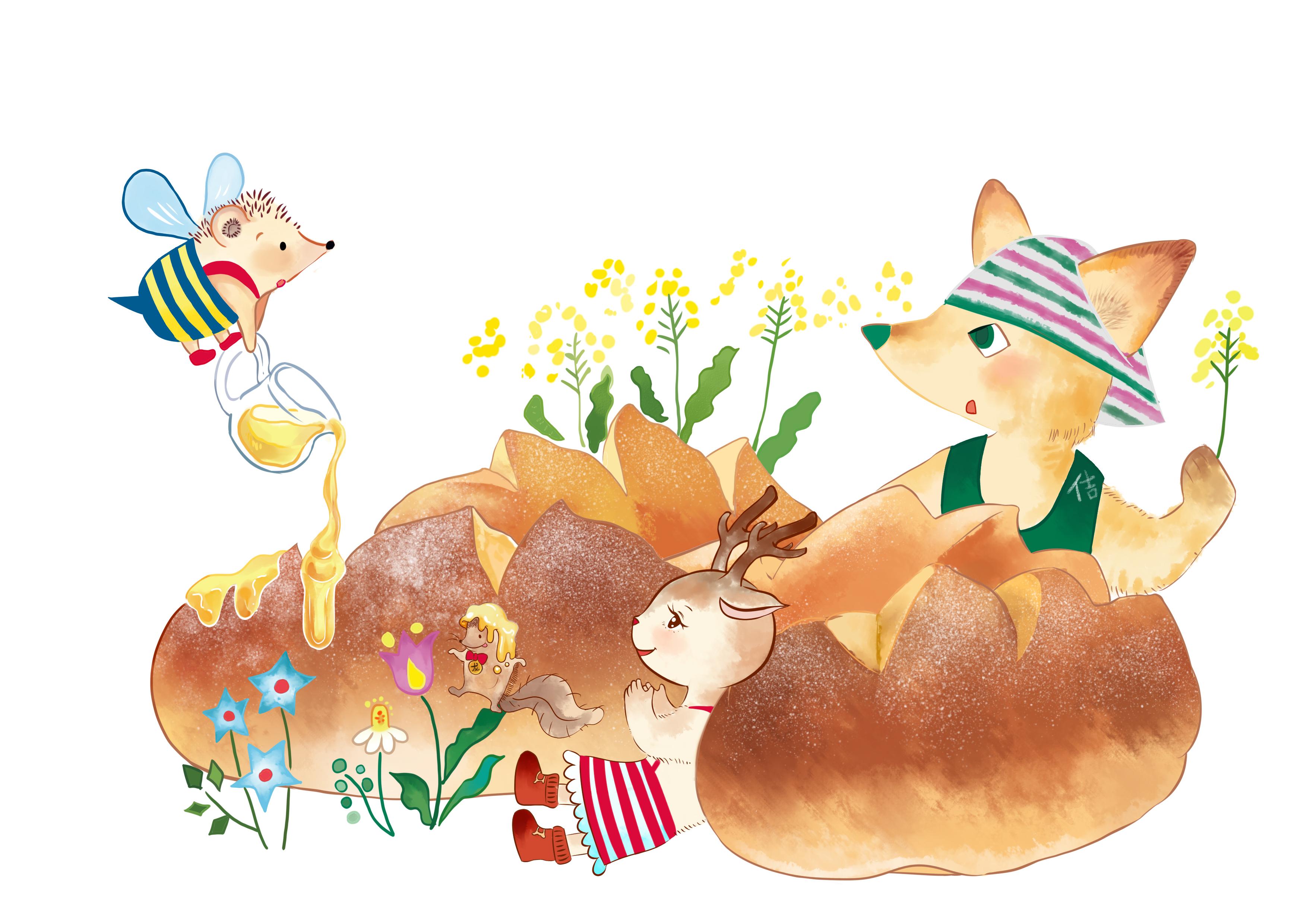 鹿角猫-给甜点店的海报插画