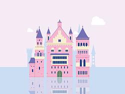 临摹练习梦幻水上城堡