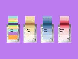 回形针包装设计铝箔封口袋包装渐变色标签设计