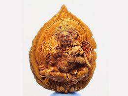 《黄财神》桃核雕刻