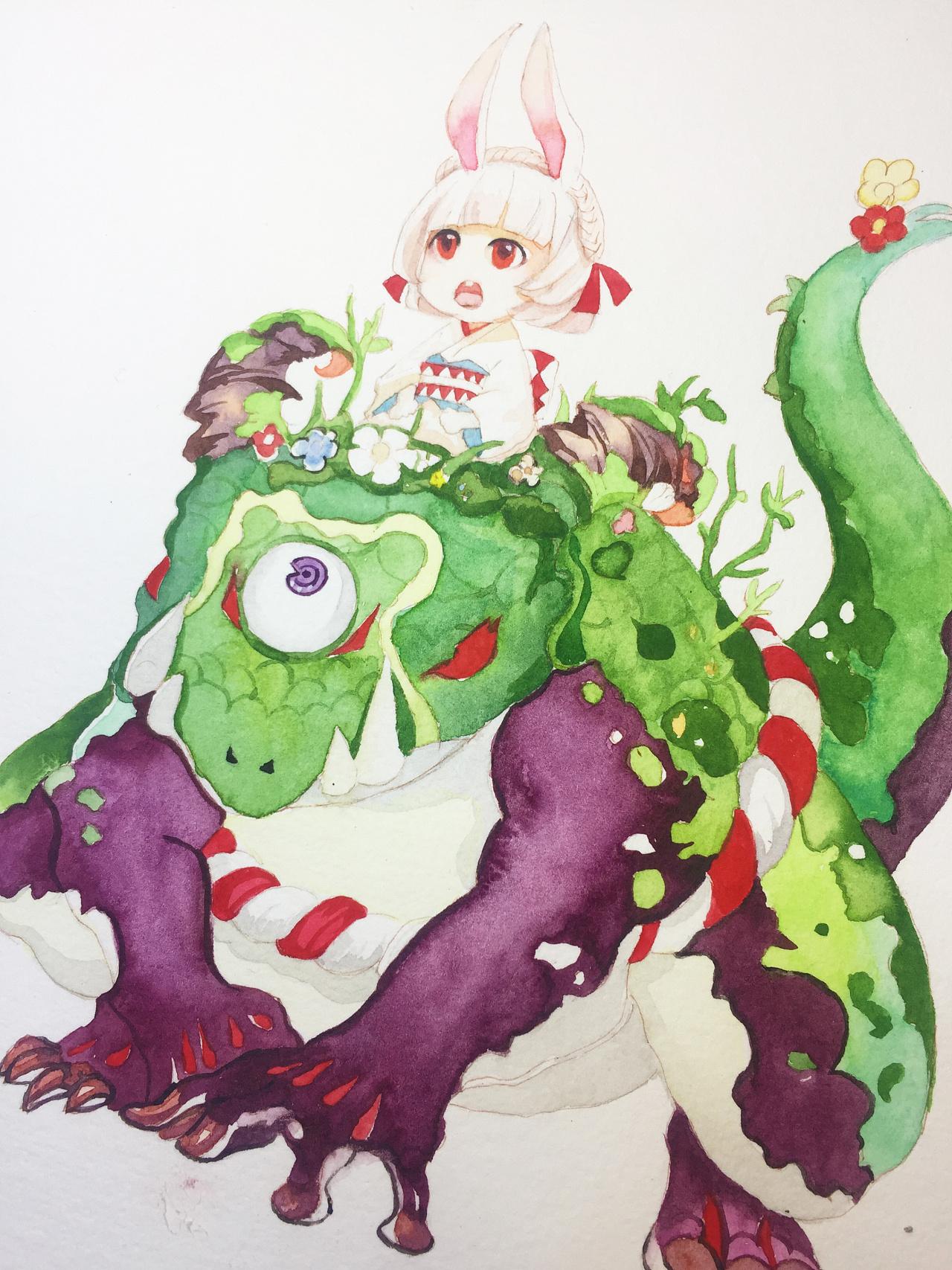 水彩手绘--阴阳师(山兔)