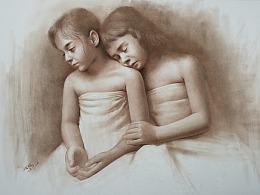 棕色素描小女孩