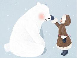 《当熊遇见女孩》插画作品