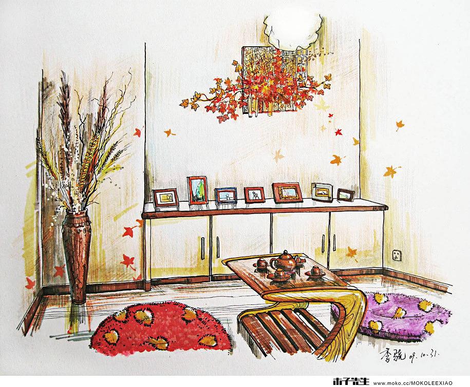 商业展示效果图作业_室内手绘效果图B|插画|插画习作|muzimayao - 原创作品 - 站酷 (ZCOOL)