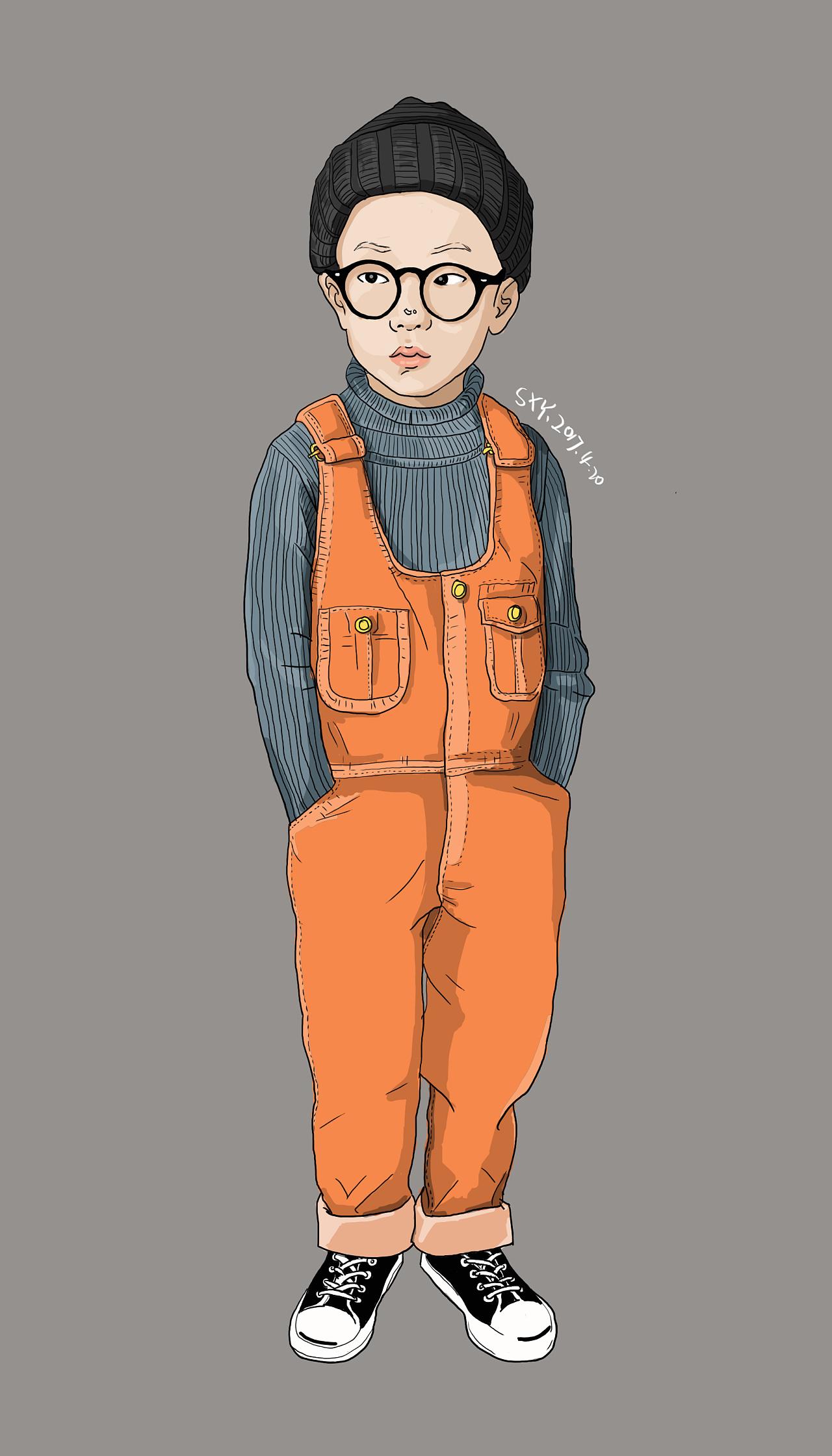 穿背带裤的小男孩