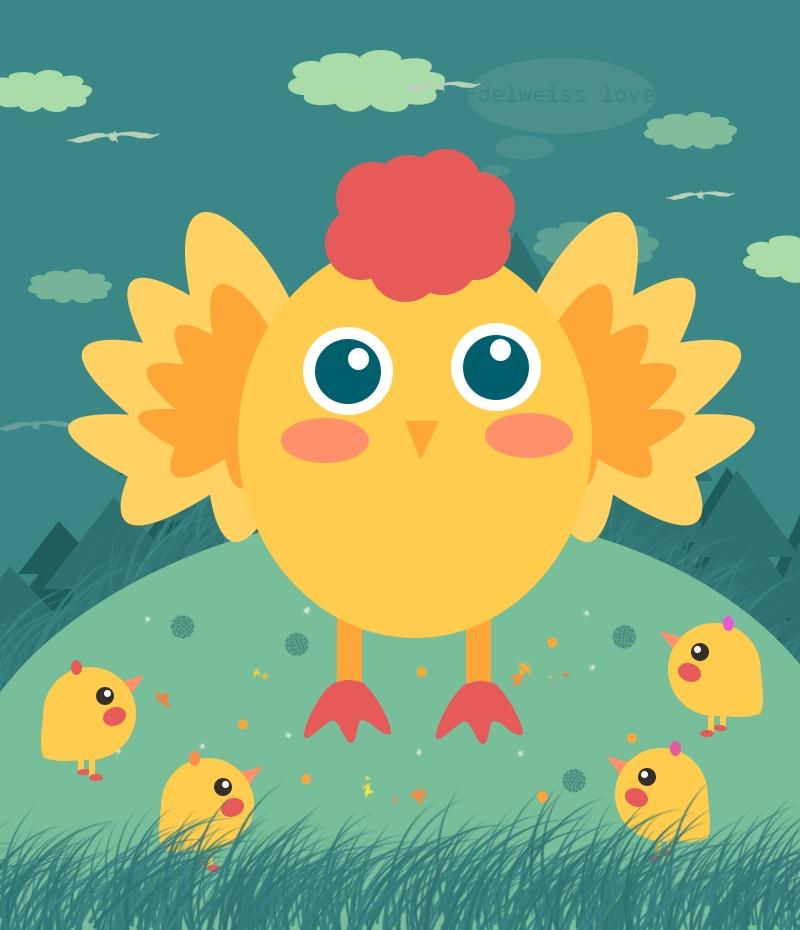 鸡妈妈和鸡崽子