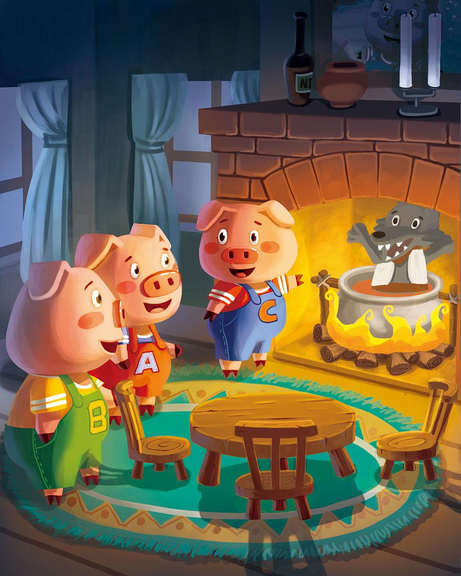 三只小猪3|儿童插画|插画|圆豆芽 - 原创设计作品 - 站酷 (ZCOOL)