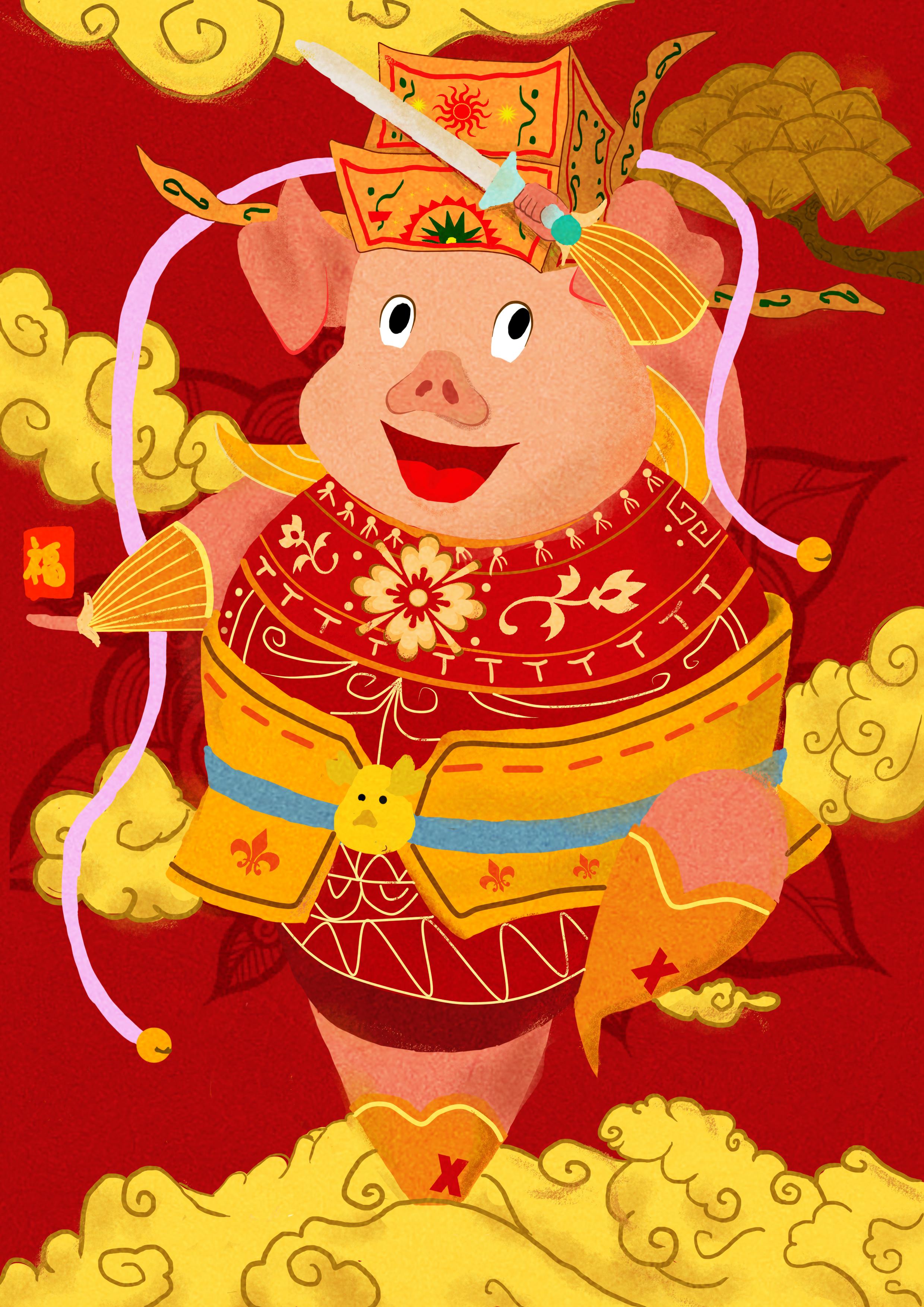 猪年门神 插画 商业插画 无名遇画 - 原创作品 - 站酷图片
