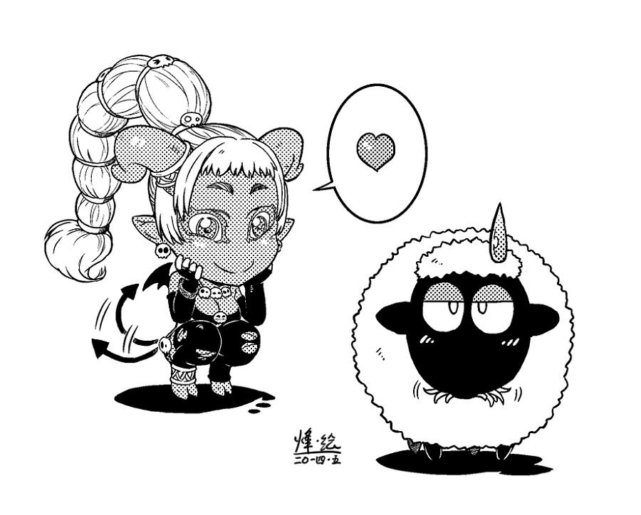 手绘q版羊