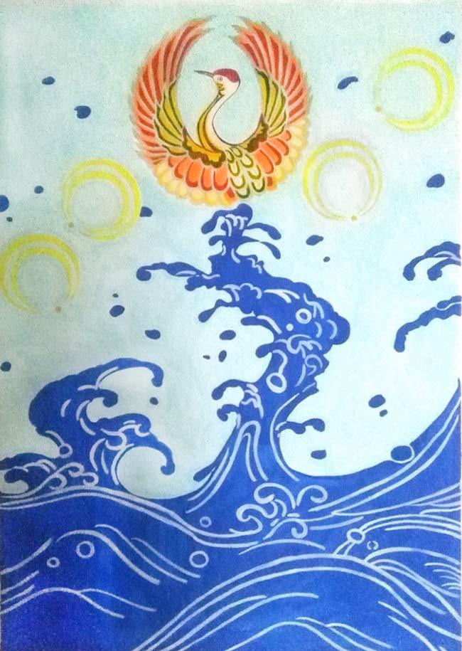 和风手绘插画——月,鹤,海浪