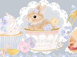 柄图设计-三色堇茶会兔