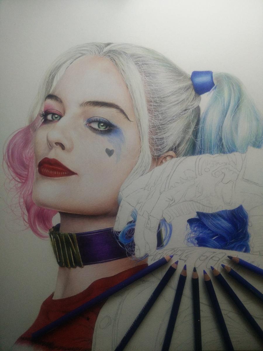 彩铅手绘小丑女