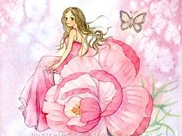 一组花朵和少女的搭配