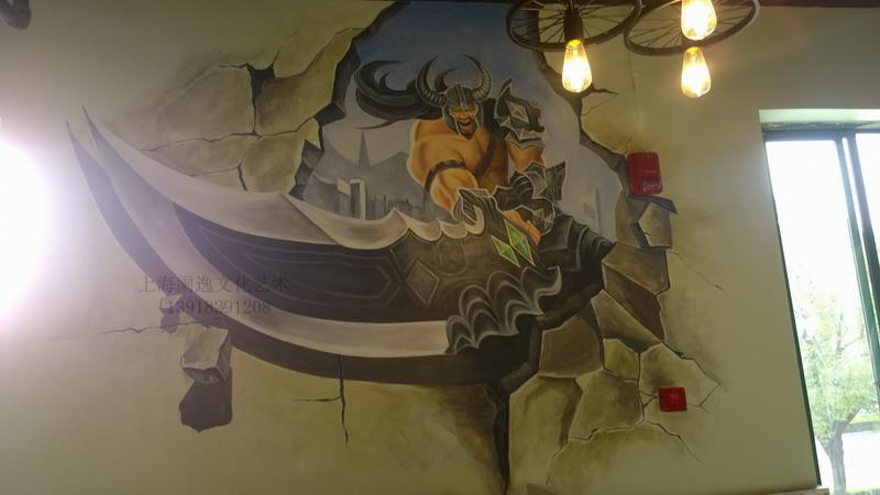 上海网大网吧网咖手绘3d立体墙绘壁画