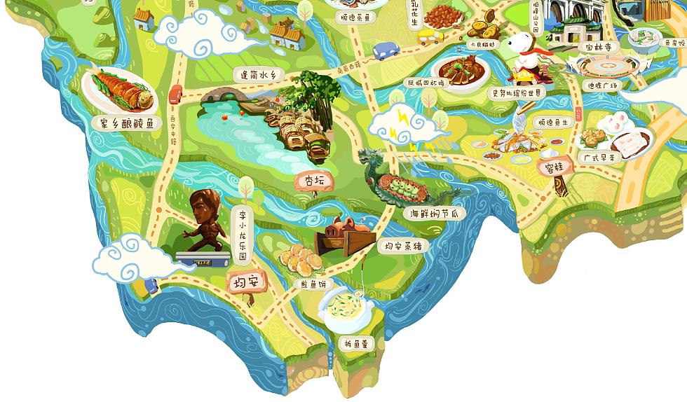 顺德美食旅游手绘地图 顺德特色 景点 美食 fish杂志