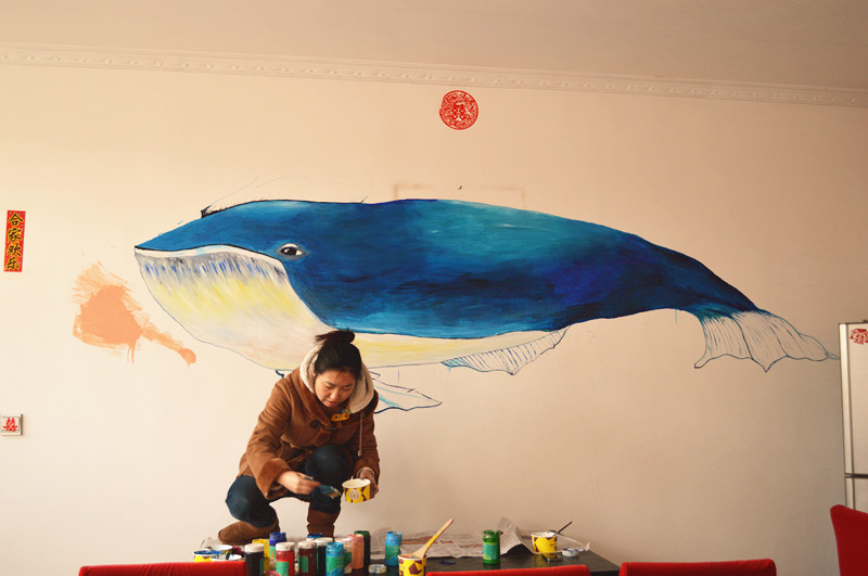 鲸鱼 沙发背景墙绘
