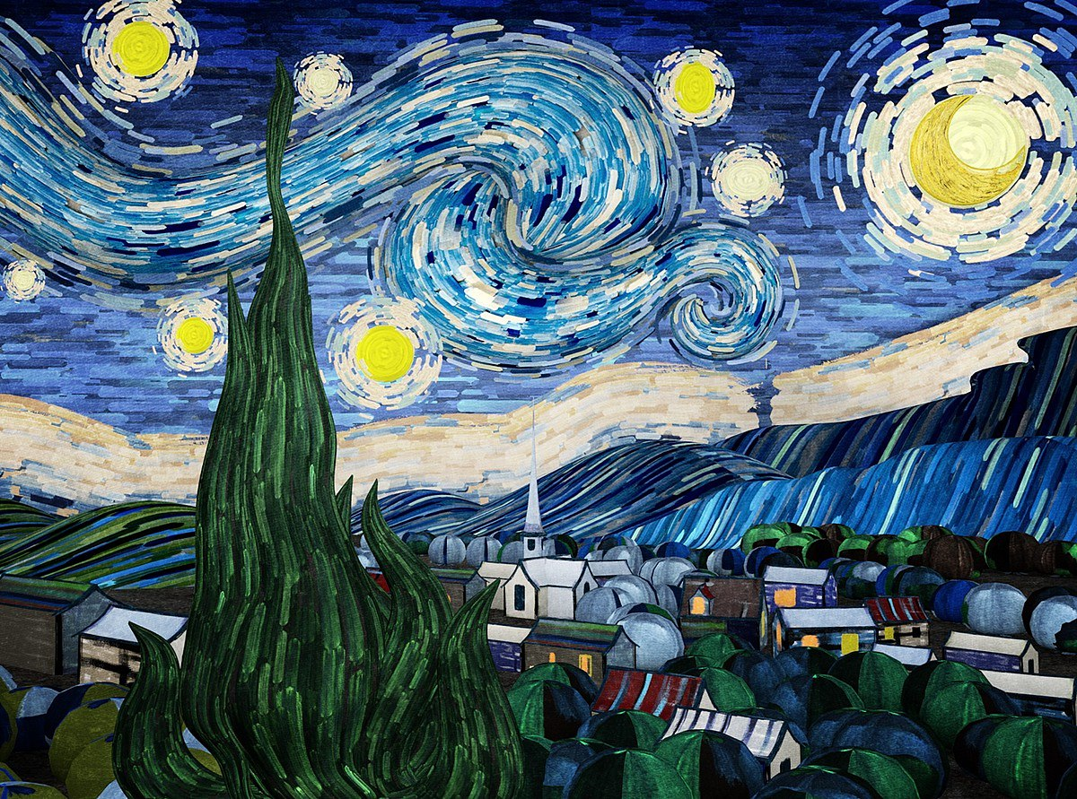 the starry night of van gogh 梵高星月夜动画短片 vr