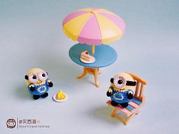 【贝西海の手作】#钩针#迷你小黄人钩针玩偶沙滩游