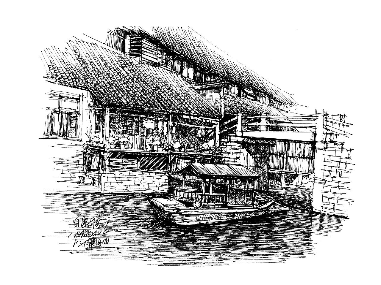 白鹿猿钢笔手绘---东方建筑情节