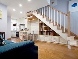 斜顶复式爆改格局,楼梯包揽餐厅收纳,让客厅显大一倍