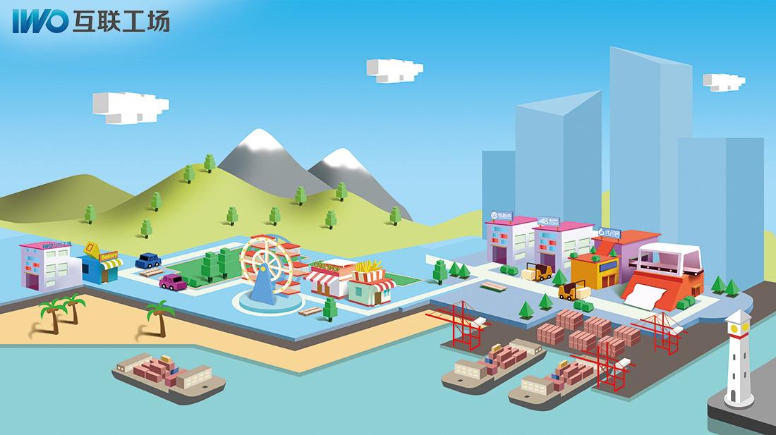 手绘设计:扁平化城市,这是对我们公司的一