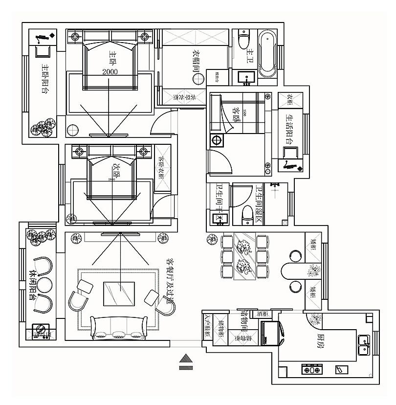 康桥九溪郡装修效果图120平三室两厅简欧风格设计方案---平面布局图