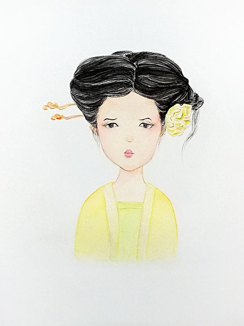 中国风卡通人物头像,水彩画手绘