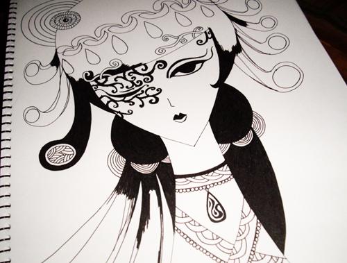 水笔画的黑白画(喜欢)|绘画习作|插画|阿不e