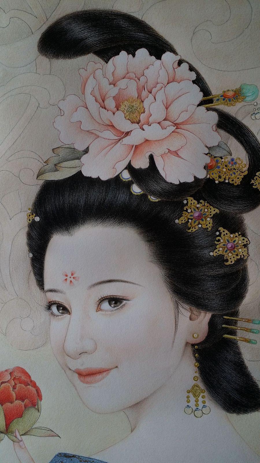 古风彩铅仕女图——贵妃回眸